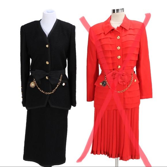 4ac5ffdadac0a Vintage Adolfo at Saks Fifth Black Wool Skirt Suit